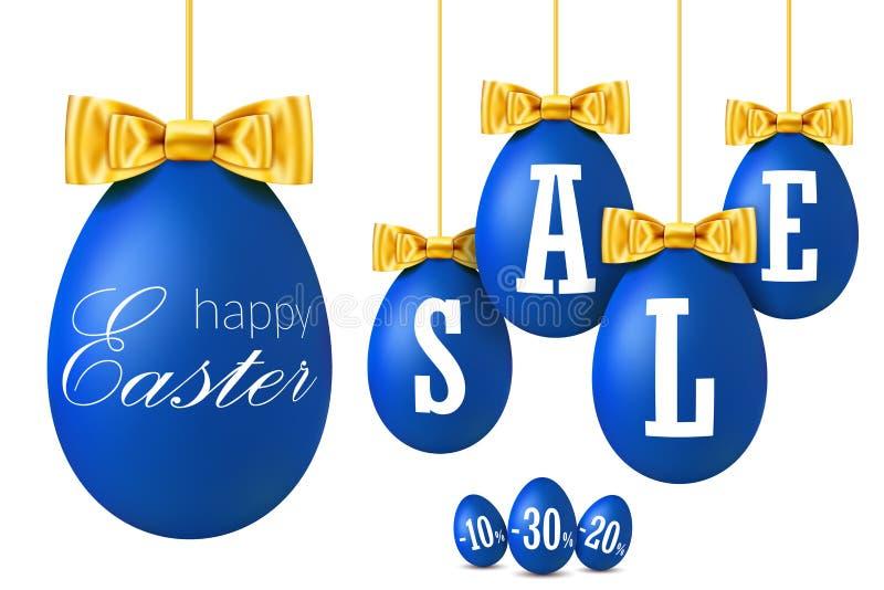 3D paaseiverkoop Gelukkige Pasen die blauwe eieren, gouden lintboog geïsoleerde witte achtergrond hangen 10, 20, 30 percenten weg royalty-vrije illustratie