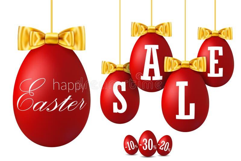 3D paaseiverkoop Gelukkige Pasen die rode eieren, gouden lintboog geïsoleerde witte achtergrond hangen 10, 20, 30 percenten weg stock illustratie
