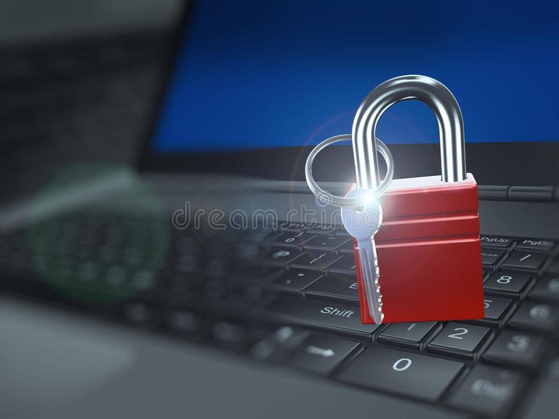 3d padlock with key on laptop keyboard. 3d illustration of padlock with key on laptop keyboard. Concept of computer data security and encryption vector illustration