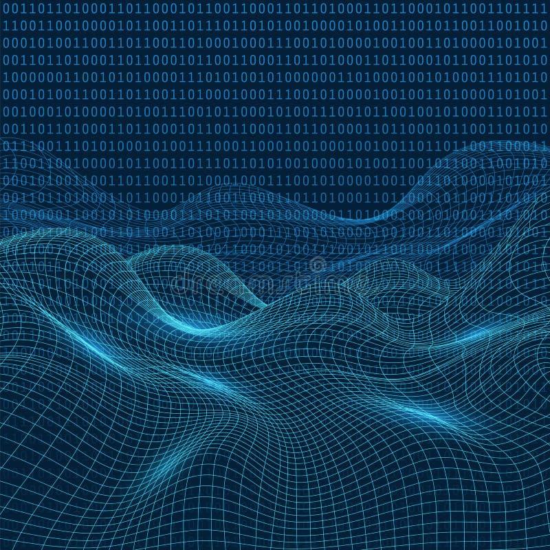 3D paesaggio virtuale astratto, griglia del Cyberspace, fondo di tecnologia di rete, illustrazione di vettore royalty illustrazione gratis