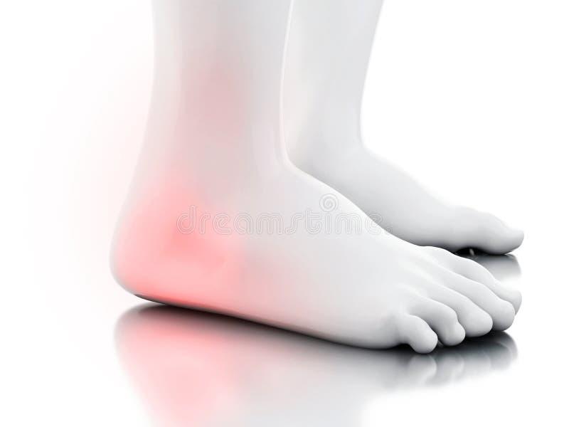 3d Painful ankle vector illustration