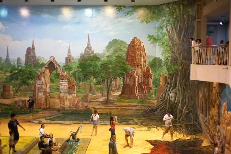 3d painting in gallery at Art In Paradise pattaya.Interactive ar royalty free stock photos