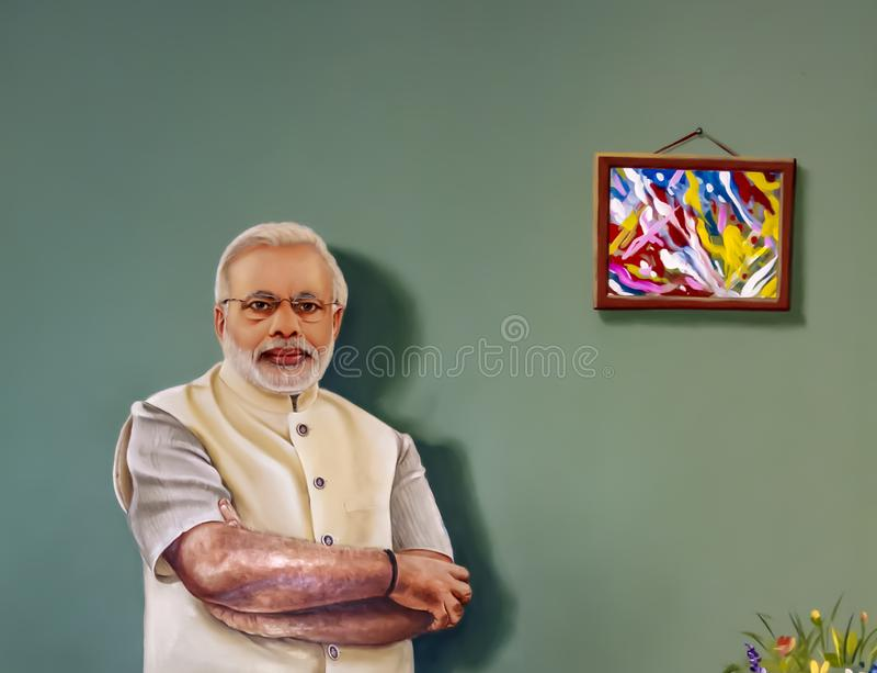 3D Painting of Narendra Modi- at Kanyakumari Wax Museum stock image
