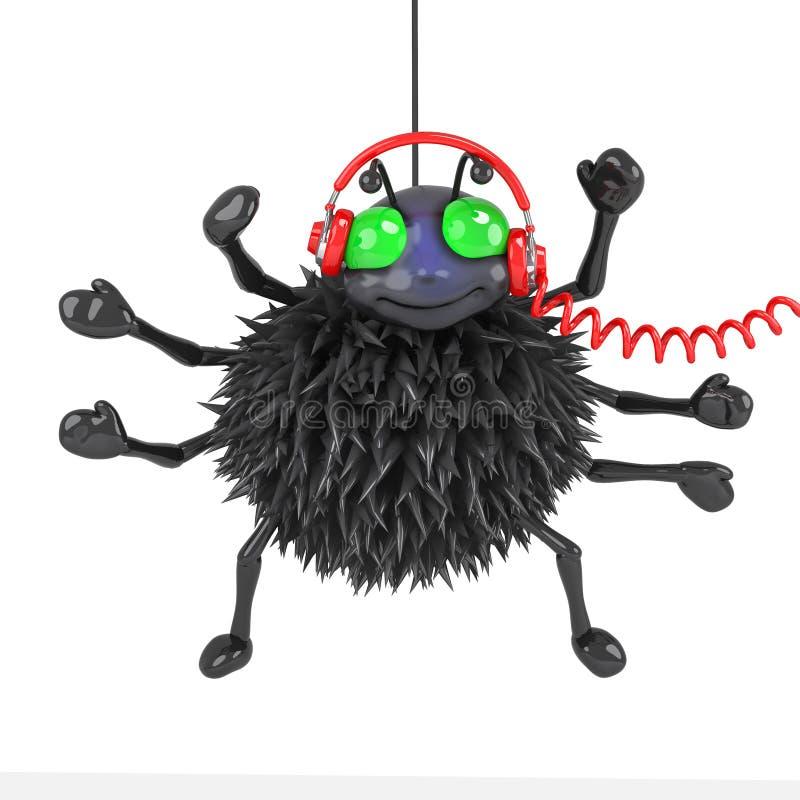 3d pająk jest ubranym jego nowych hełmofony ilustracja wektor