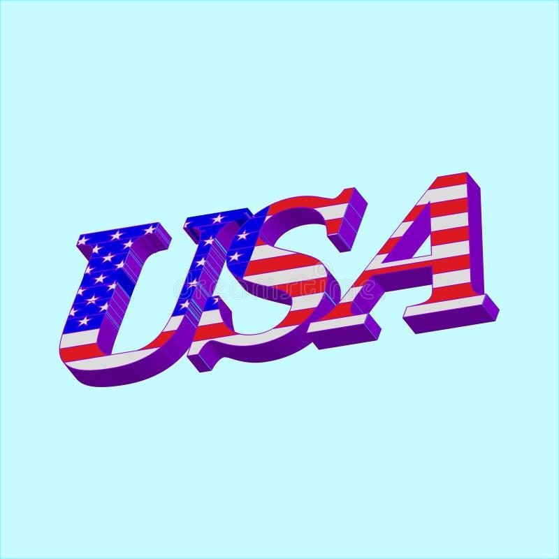 3D palavra EUA com bandeira americana ilustração royalty free