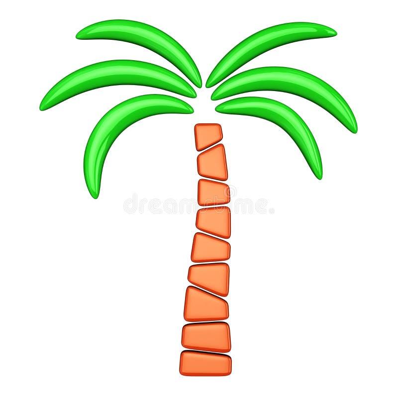 3d palm abstract beeld, stock illustratie