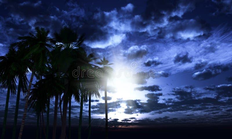 3D palmen tegen een maanbeschenen hemel royalty-vrije illustratie