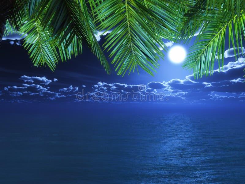 3D palmvarenbladen die uit aan een nachtoceaan kijken vector illustratie
