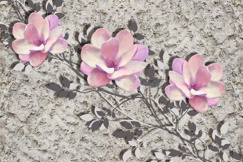 3d papel pintado, flores de la magnolia en la pared áspera del yeso stock de ilustración
