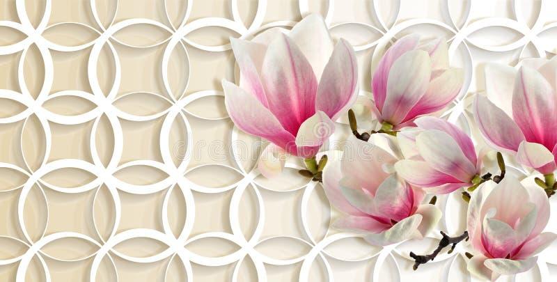 3d papel pintado, magnolia en fondo de los anillos ilustración del vector