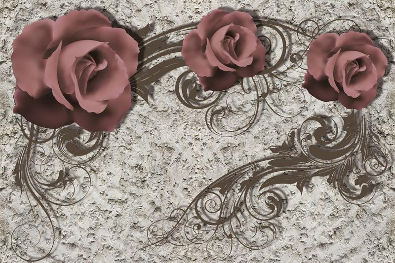 3d papel pintado, rosas en la pared áspera del yeso stock de ilustración