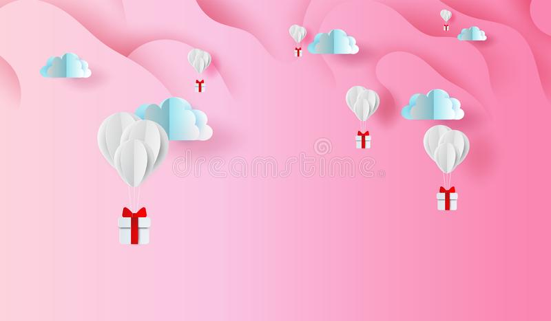 3D Paper art and craft design of balloons gift on Abstract Curve shape pink sky background,floating with GiftBox in the air clouds vector illustration