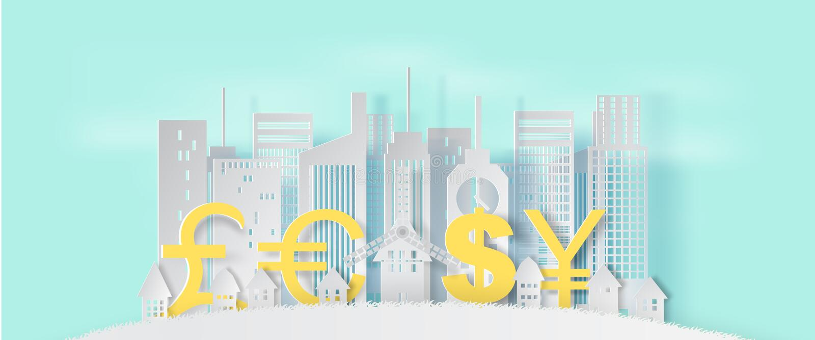 3d Paper art and craft style of cityscape and lanscape with business finance concept on blue pastel color background royalty free illustration