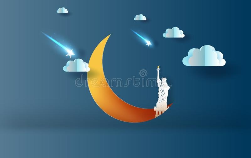 3D Paper art and craft style of half moon with Statue of liberty NEW YORK USA concept.Cloud and shooting star on Sky night sweet stock illustration