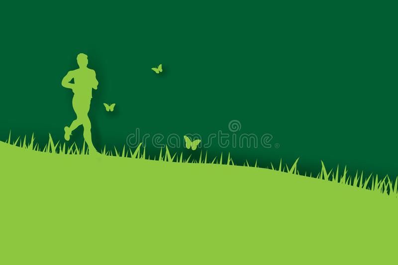 3d paper art and craft of Young runners jogging in park on green background with green grass.Man happy relax outdoors park garden stock illustration