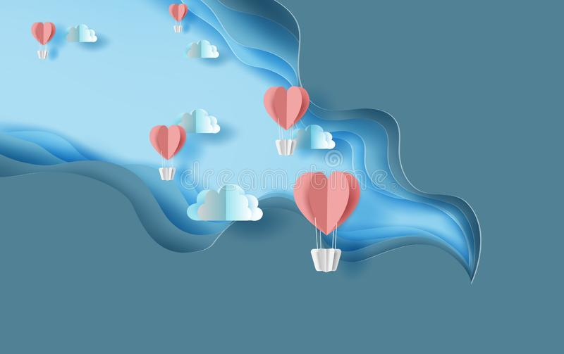 3d paper art of red heart balloons air fly on sky .Blue abstract paper wave layer cut background.Creative Paper craft style of vector illustration