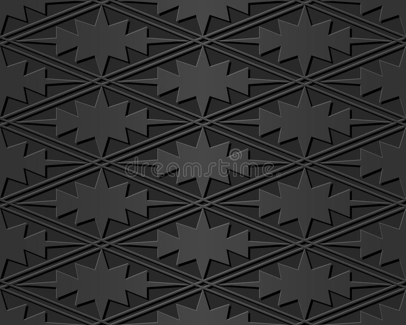3D paper art rhomb check cross sawtooth geometry frame. Can be used for both print and web page stock illustration