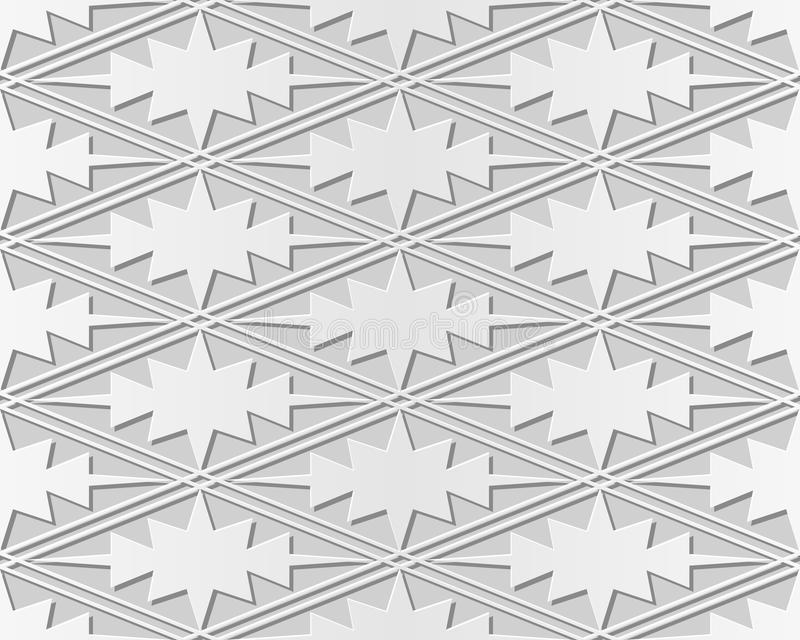 3D paper art rhomb check cross sawtooth geometry frame. Can be used for both print and web page royalty free illustration