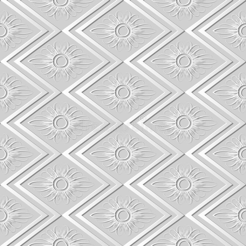 3D paper art rhomb check sawtooth cross frame flower. Can be used for both print and web page royalty free illustration