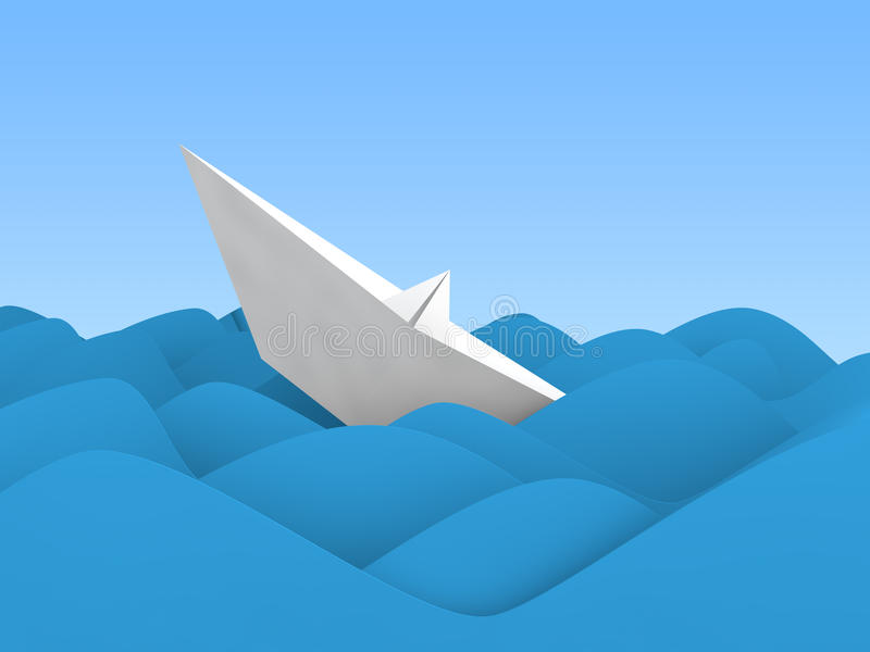 3d paper boat sinking in ocean waves stock photos