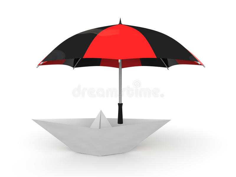 3d paper boat under umbrella royalty free stock images