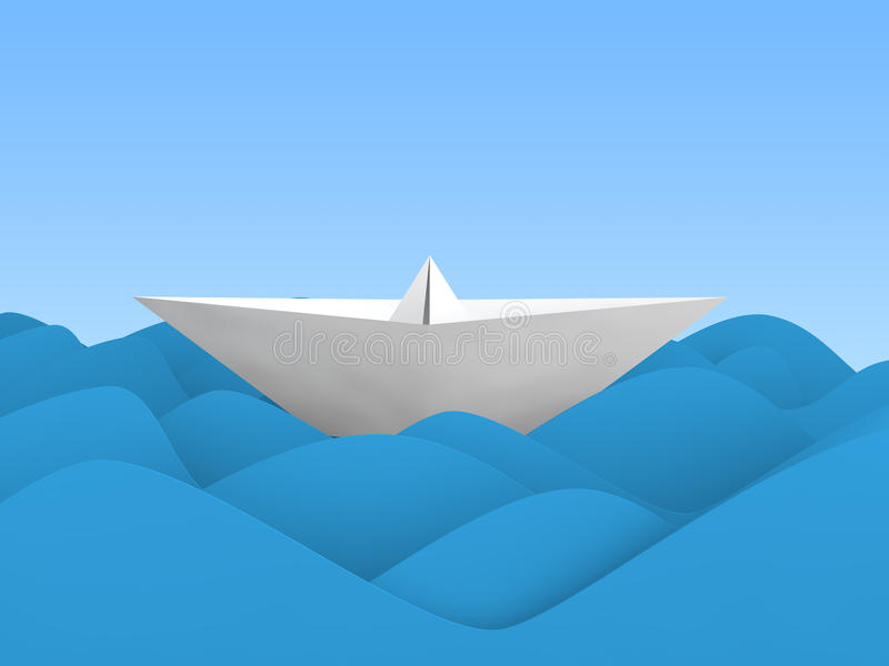 3D paper boat in waves royalty free stock image