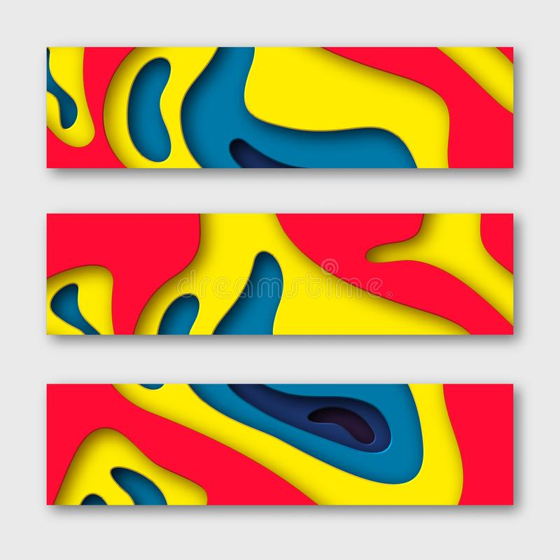 3d paper cut horizontal banners. Shapes with shadow in white and yellow, red, blue. Papercraft layered art. Design for royalty free illustration