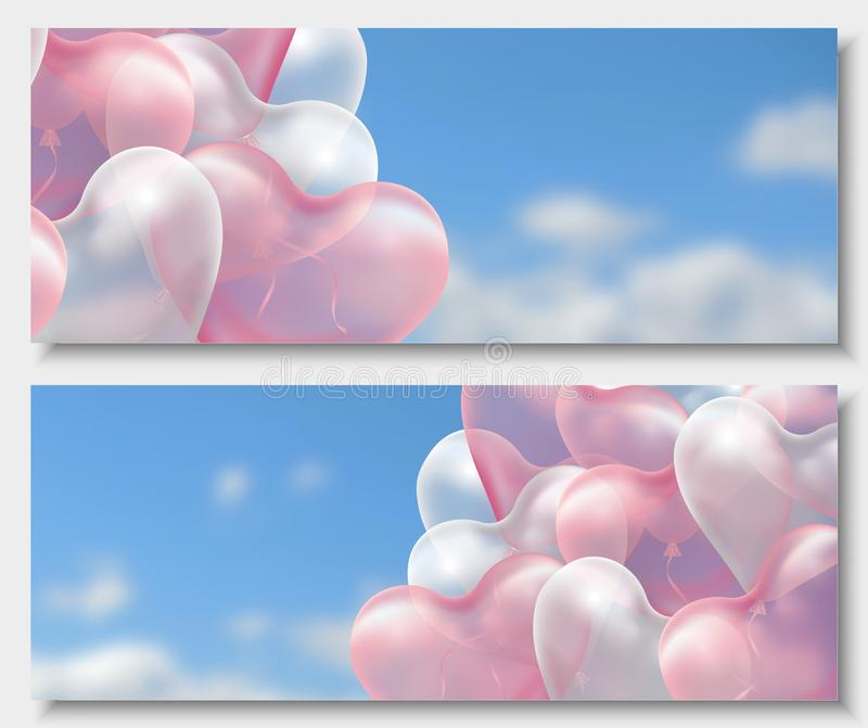 3d paper cut illustration of 3d glossy pink and white balloon hearts on blue background with clouds. Vector vector illustration