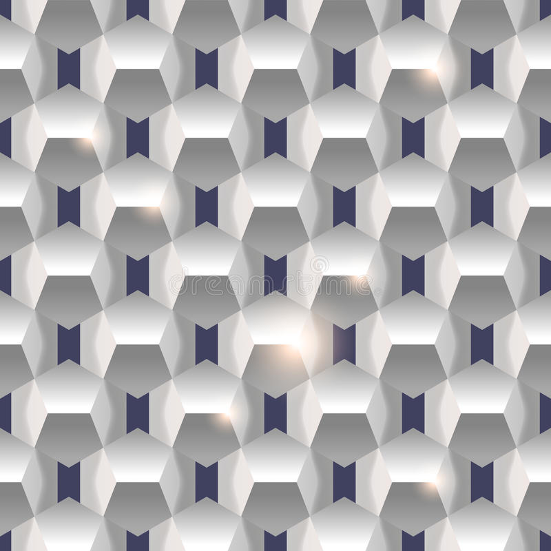 3D paper simple clean seamless geometric white texture background. stock illustration