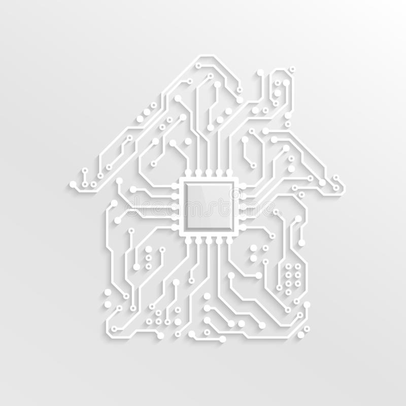 3D Paper Smart Home Concept. Circuit House with CPU inside. Future Technology Background. Vector Illustration royalty free illustration