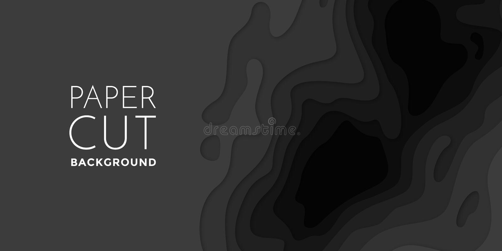 Abstract 3D papercut banner of gradient black paper layers vector pattern background royalty free illustration
