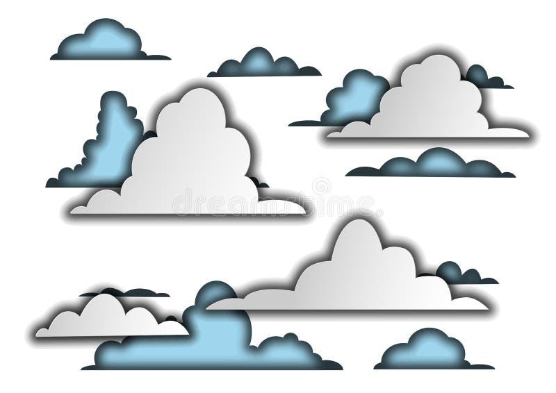 3d papier Chmury Stylizowany niebo Dziecka ` s rysunek royalty ilustracja