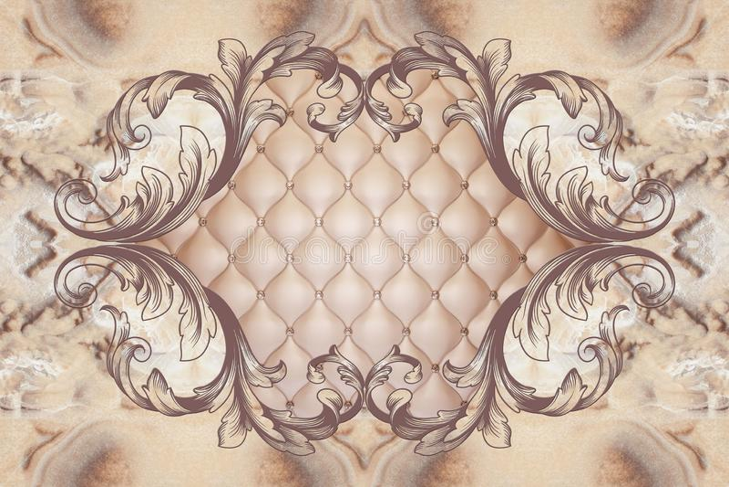 3d papier peint, cadre de décor de stuc, en cuir d'effet piqué boutonné illustration libre de droits