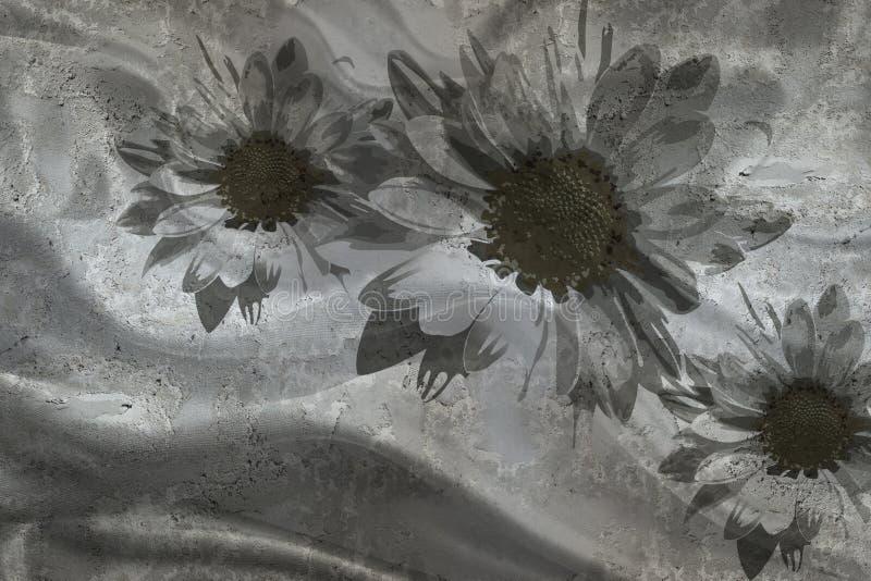 3d papier peint, camomilles sur le fond texturisé de mur en béton L'effet de fresque, effet en soie Rebecca 36 illustration libre de droits