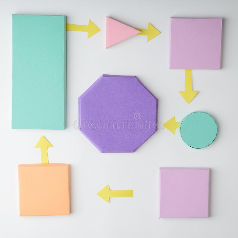 3D papieru flowchart na bielu obraz stock
