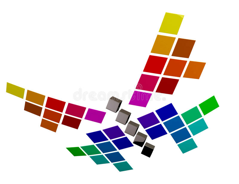 3d papillon coloré abstrait, 3d illustration stock