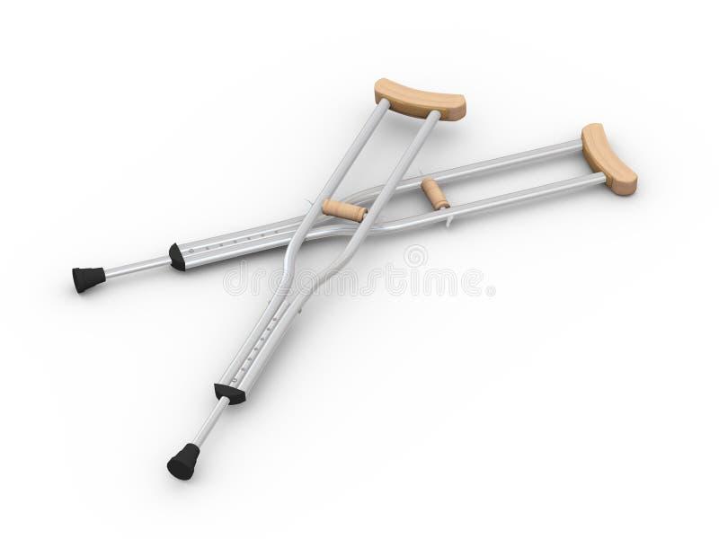 3d para ortopedyczni wyposażeń szczudła royalty ilustracja