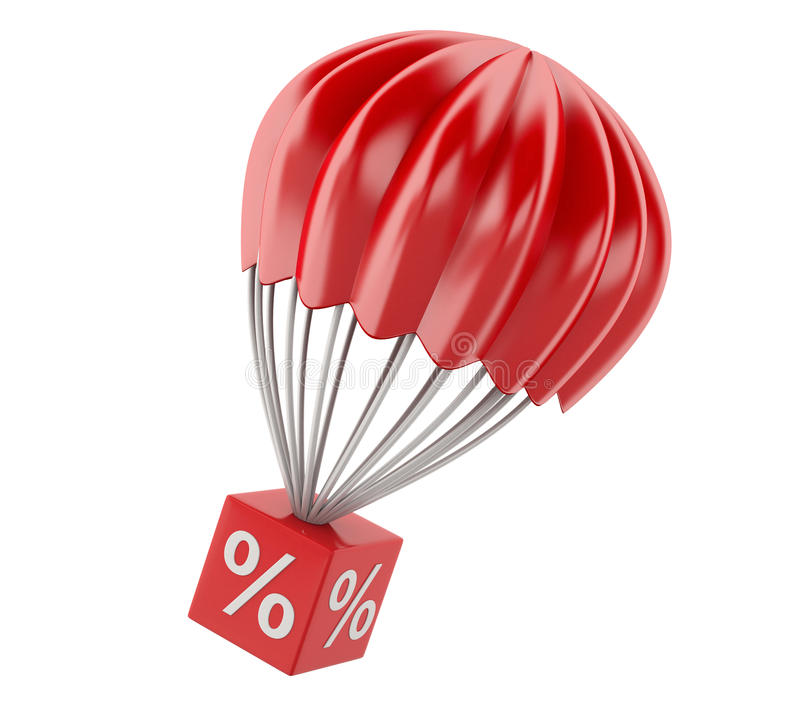 3d parachute with discount sign. Sale concept. 3d renderer illustration. parachute with discount sign. Sale concept. white background vector illustration