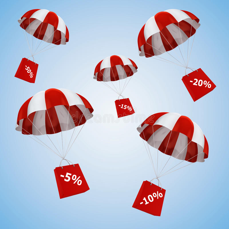 3d parachute and shopping bags. On blue background, sale concept stock illustration