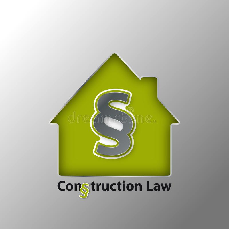 3D Paragraph Symbol And House - Construction Law Concept - Vector Illustration Metallic Design stock illustration