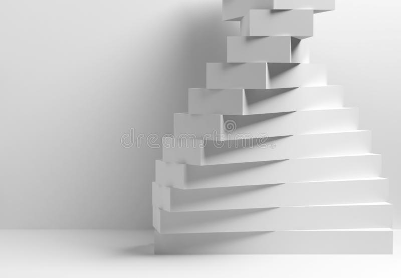 3d parametric spiral installation of boxes. Abstract geometric architecture, white parametric spiral installation of boxes, 3d render illustration stock photography