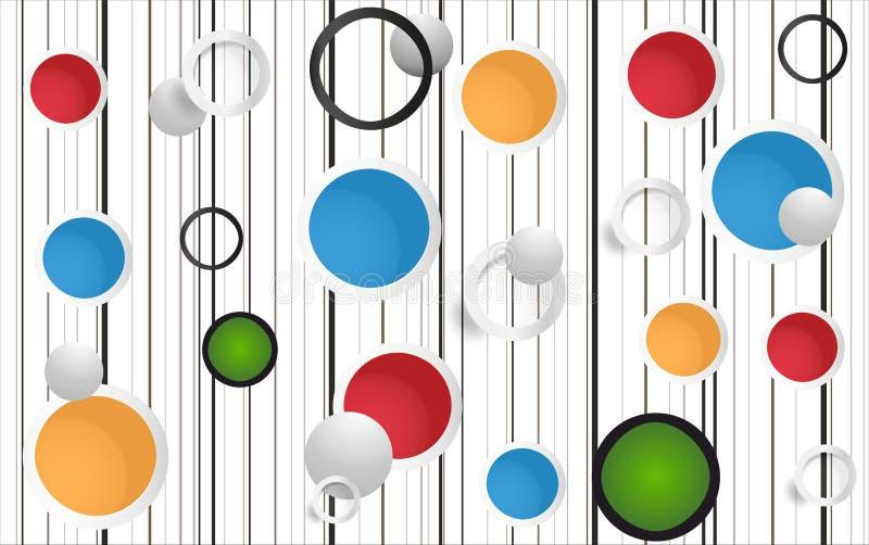 3D pared abstracta Art Colored Circles stock de ilustración