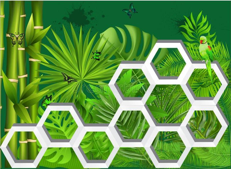 3D parede abstrata Art Green Jungle Butterfly ilustração royalty free