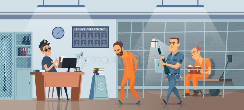 D?partement de Police Policier masculin à son armoire et pièce d'espace de travail pour l'image de vecteur de prisonniers illustration stock