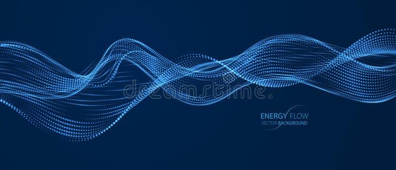 3d particles mesh array, sound wave flowing over dark background. Shining points vector effect illustration. Blended mesh, 3d stock illustration