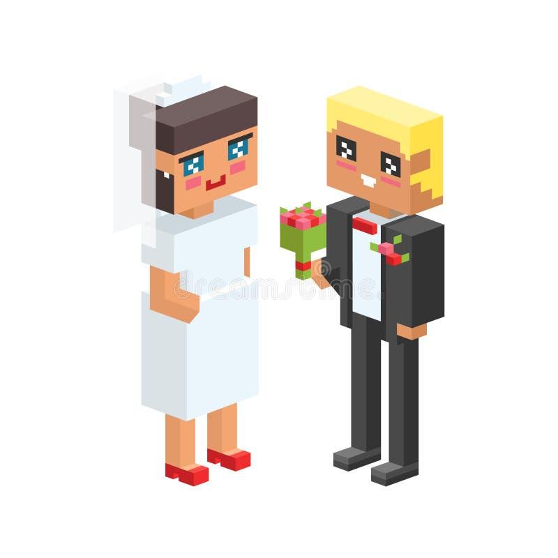 3d pary dzieci dzieciaków płaskich ikon flirtuje miłość pierwszy daktylowego ślub wychowywa wpólnie wektor isometric rodzinni lud royalty ilustracja