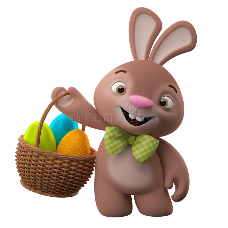 3D Pasen-konijntje, vrolijk beeldverhaalkonijn, dierlijk karakter met paaseieren in rieten mand