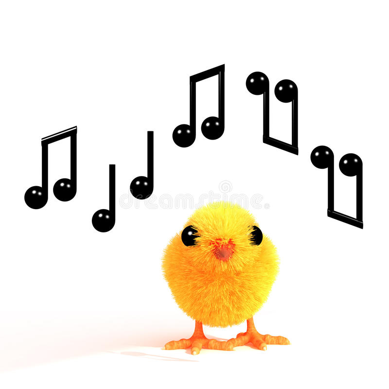 3d Pasen-kuiken fluit een wijsje royalty-vrije illustratie