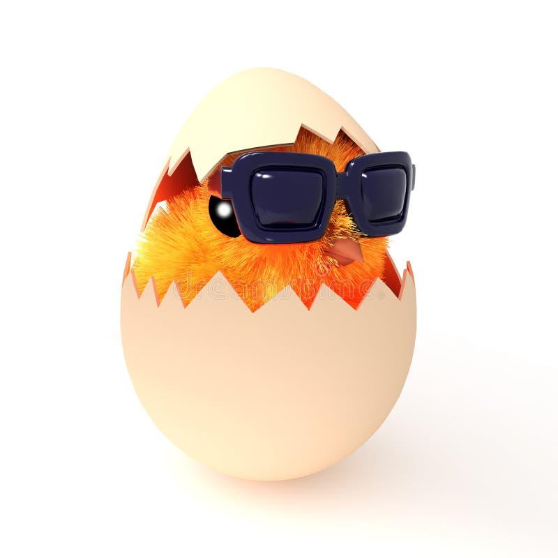 3d Pasen-kuikenbroedsels die zonnebril dragen