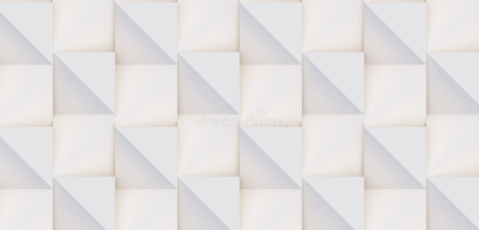 3D pattern of white and beige geometric shapes. 3D pattern made of white and beige geometric shapes, creative background or wallpaper surface made of light and stock photo